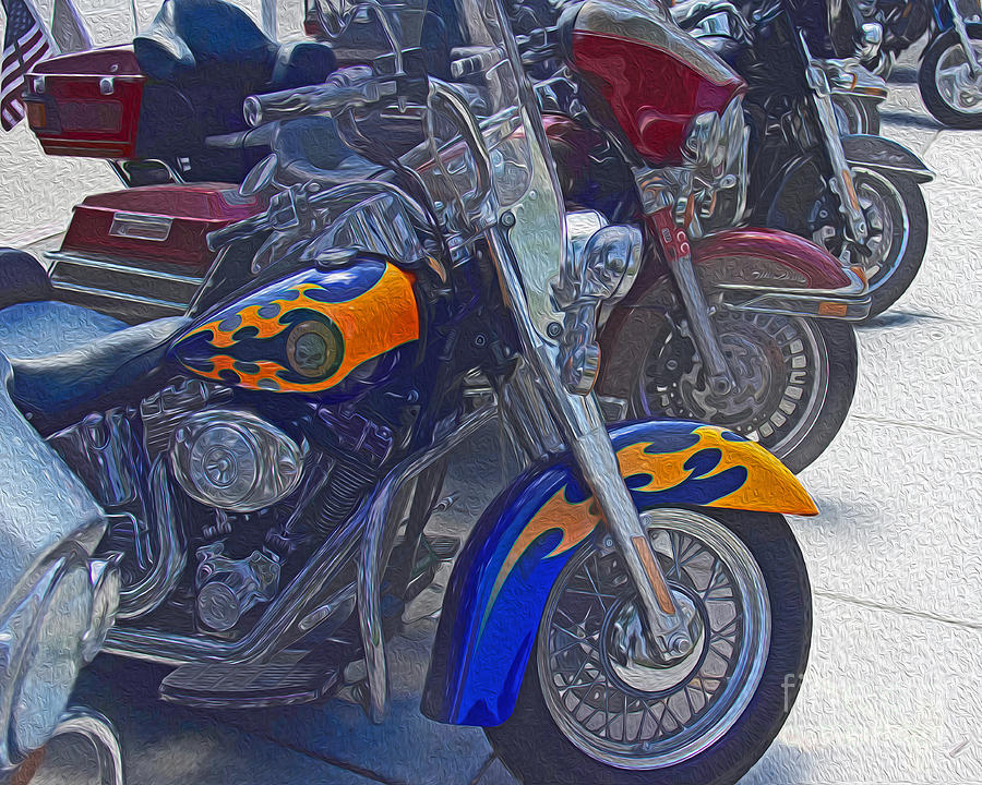 Motorcycle Photograph - Flames And Skulls by Tom Gari Gallery-Three-Photography
