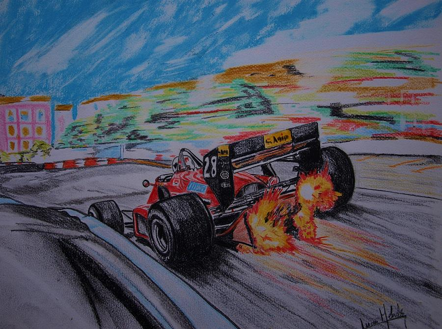 Ferrari Painting - Flames by Juan Mendez