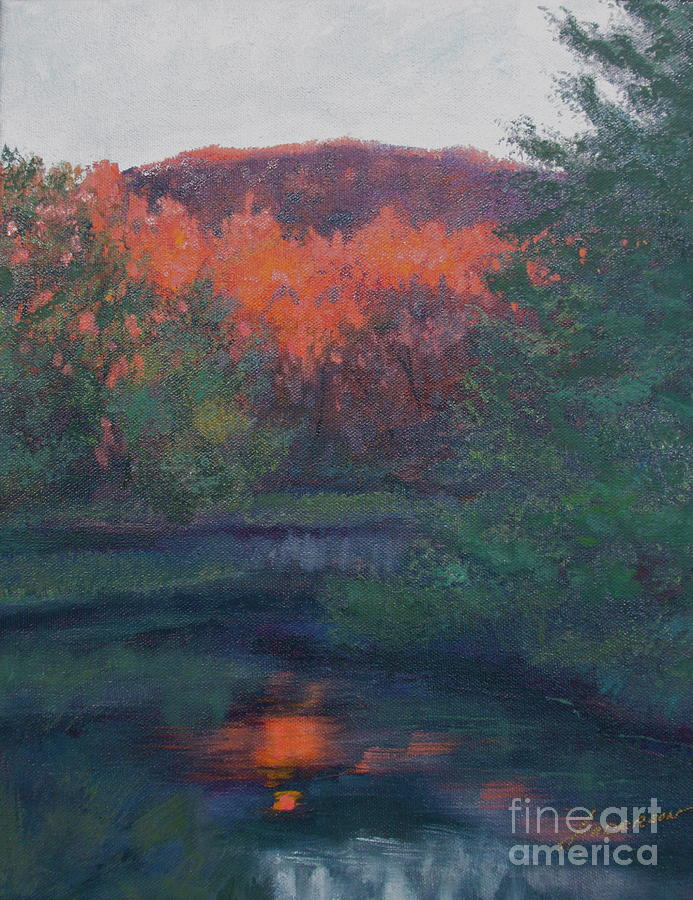 Fall Painting - Flames of Fall at Catfish Corner by Sherri Anderson
