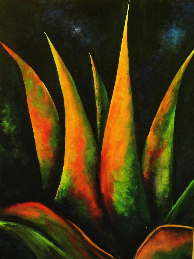 Plant Painting - Flaming Aloe by Migdalia Bahamundi