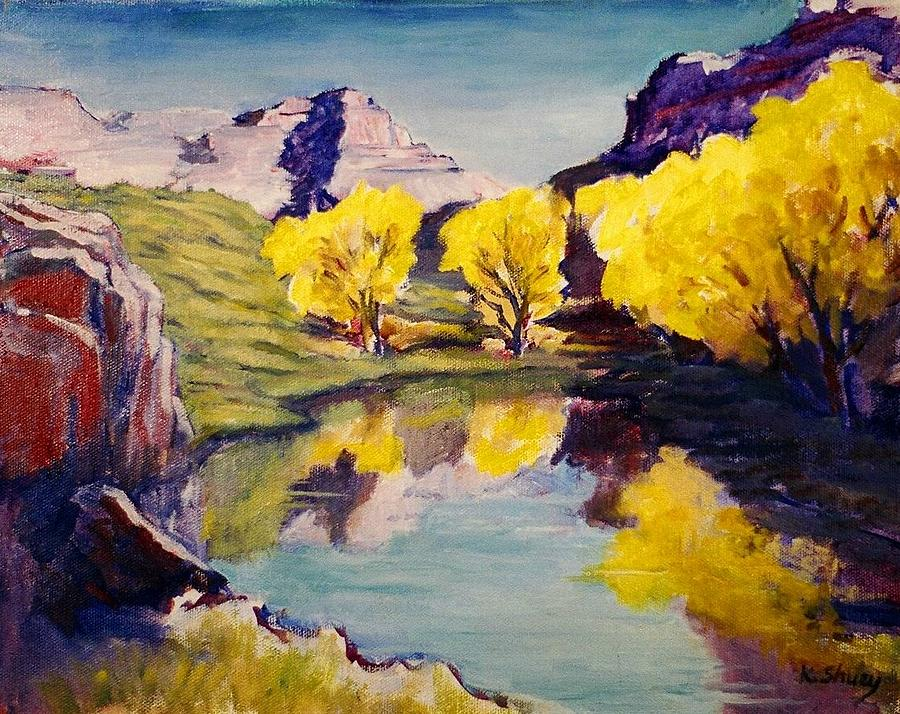 Southern Utah Painting - Flaming Aspens by Ken Shuey