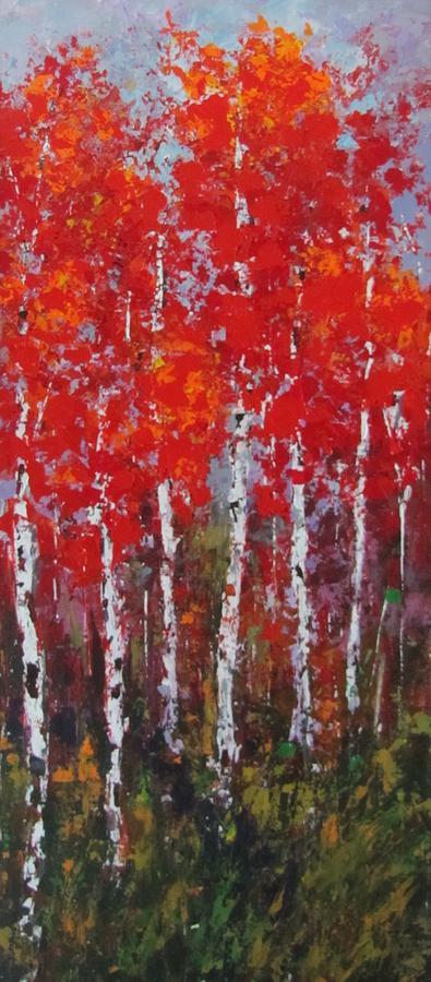 Birch Trees Painting - Flaming Autumn by Vicki Conlon