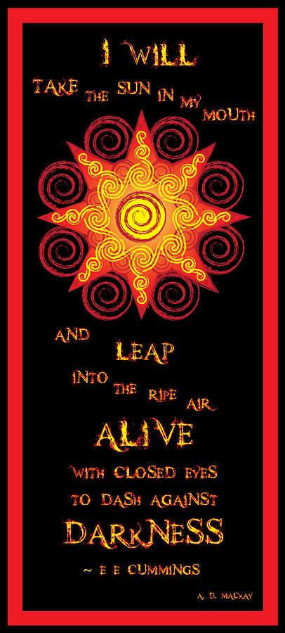 Sun Digital Art - Flaming Celtic Sun by Celtic Artist Angela Dawn MacKay