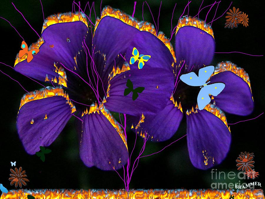 Floral Digital Art - Flaming Flowers by Bobby Hammerstone