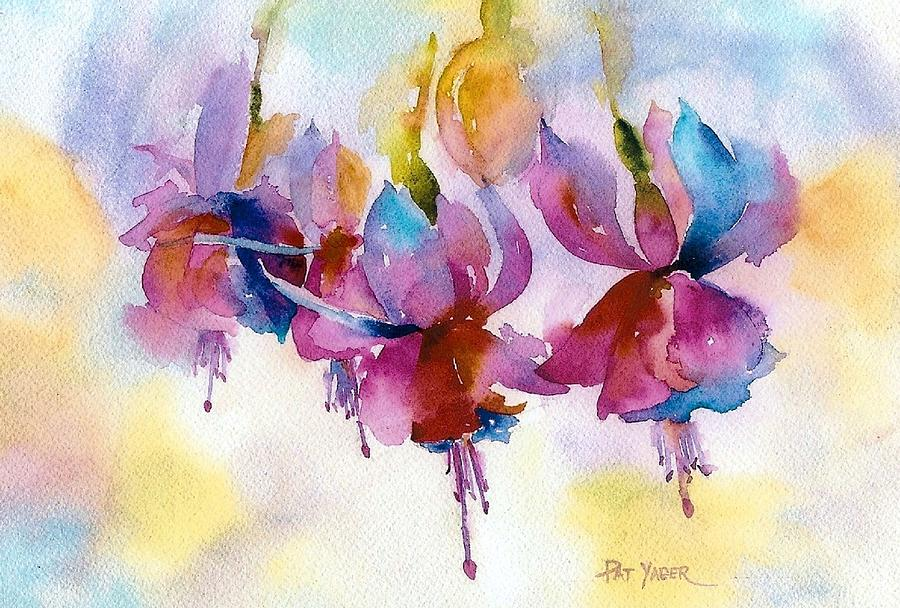 Fuchsias Painting - Flaming Fuchsias by Pat Yager