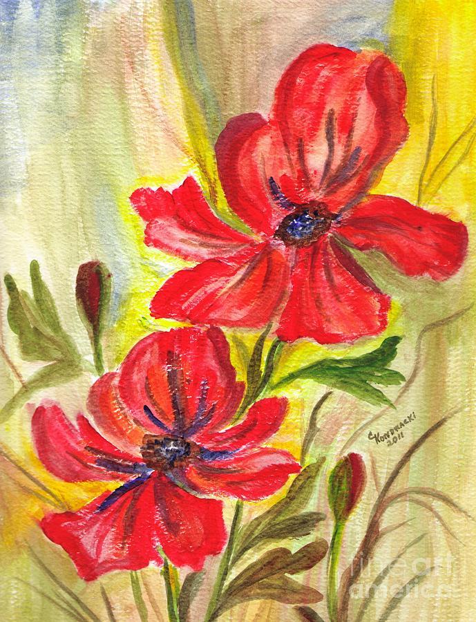 Orange Flowers Painting - Flaming Garden Flowers by Clementine Kondracki