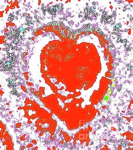 Digital Photography Digital Art - Flaming Heart 1h by Nina Kaye