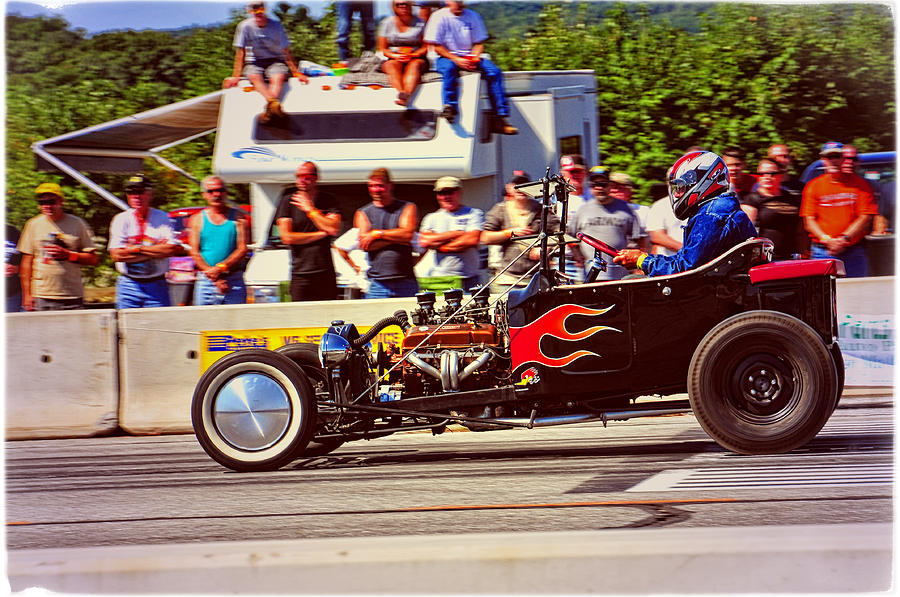 Flaming Hot Rod Racing Photograph by Mike Martin