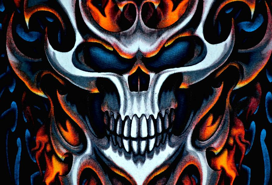 Flaming Skull Photograph by Deena Stoddard