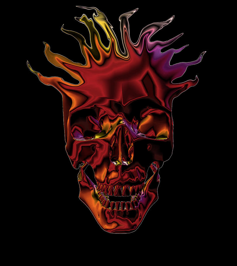 Flames Digital Art - Flaming Skull by Denise Beverly