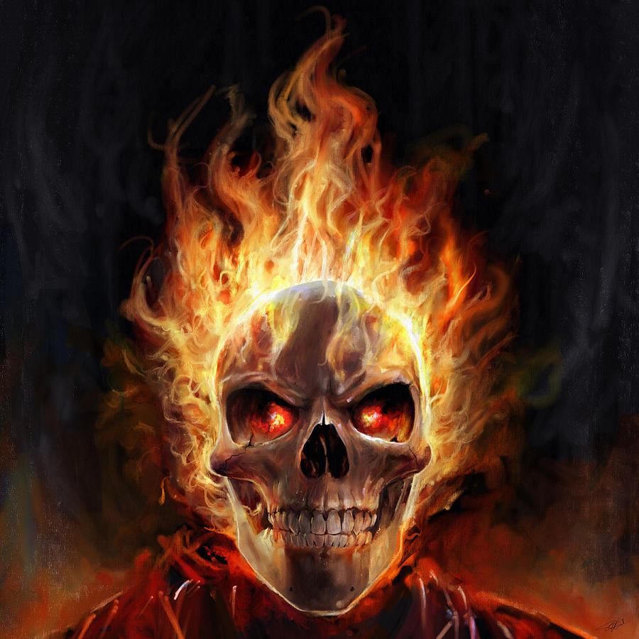 Flaming Skull Digital Art by Steve Goad