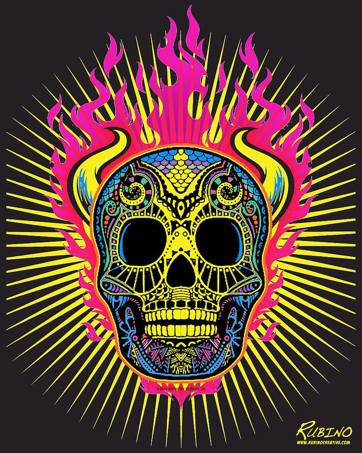 Skull Painting - Flaming Skull by Tony Rubino