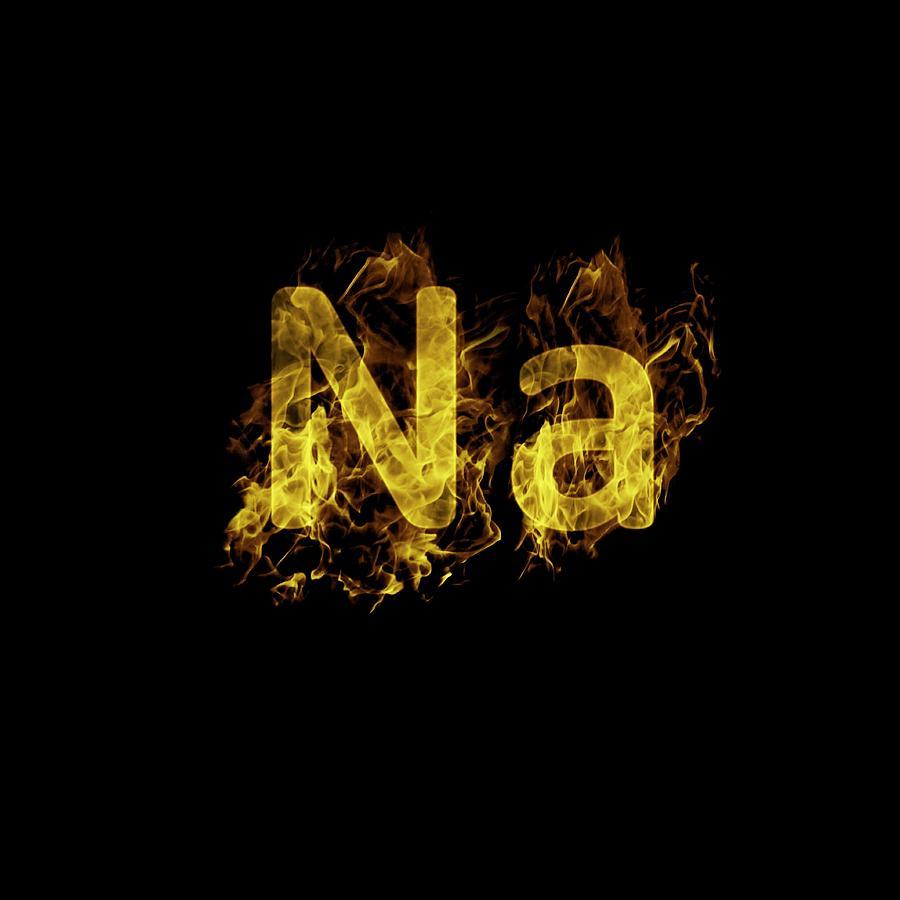 Flaming Sodium Symbol Na Photograph By Science Photo Library