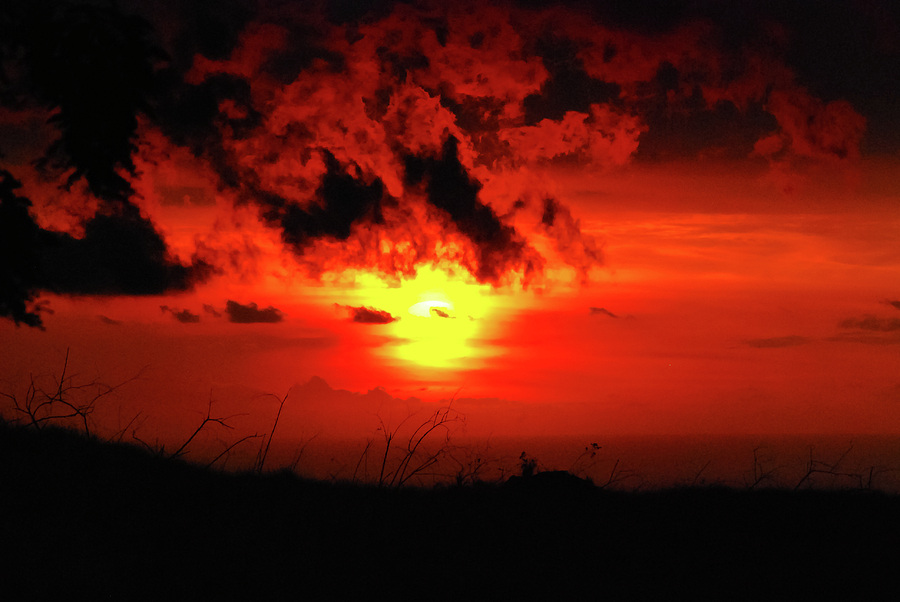 Big Island Photograph - Flaming Sunset by Christi Kraft