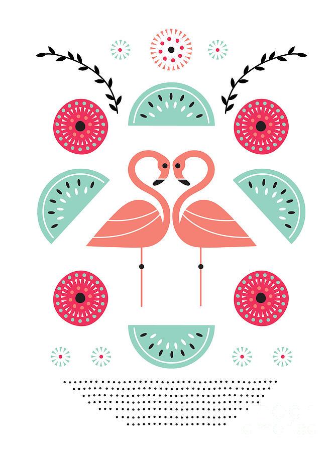 Susan Claire Digital Art - Flamingo Flutter by MGL Meiklejohn Graphics Licensing