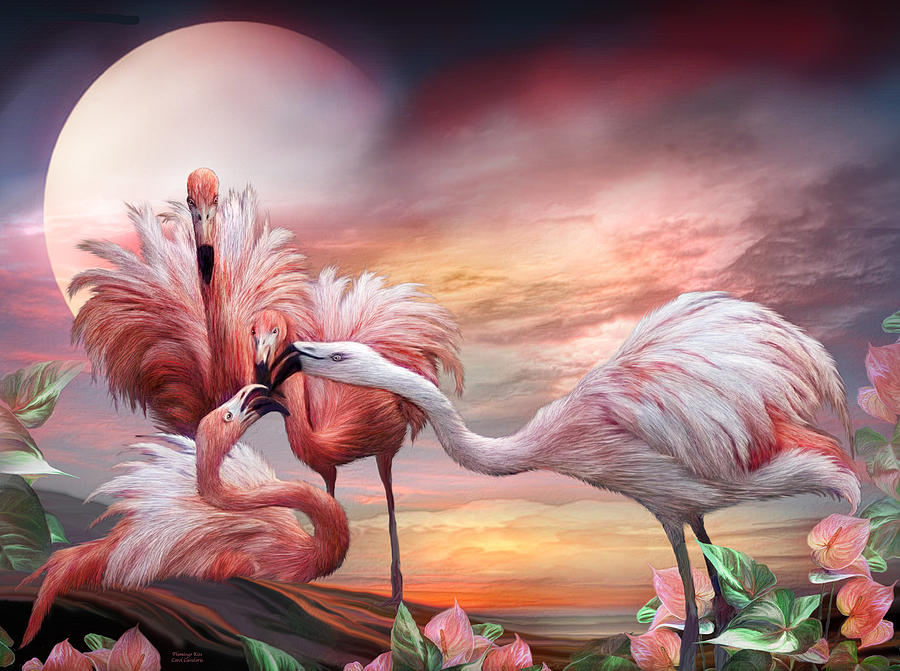 Flamingo Kiss Mixed Media By Carol Cavalaris
