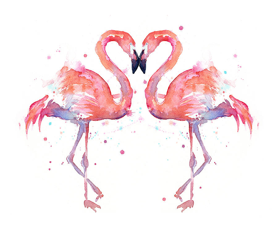 Watercolor Painting - Flamingo Love Watercolor by Olga Shvartsur