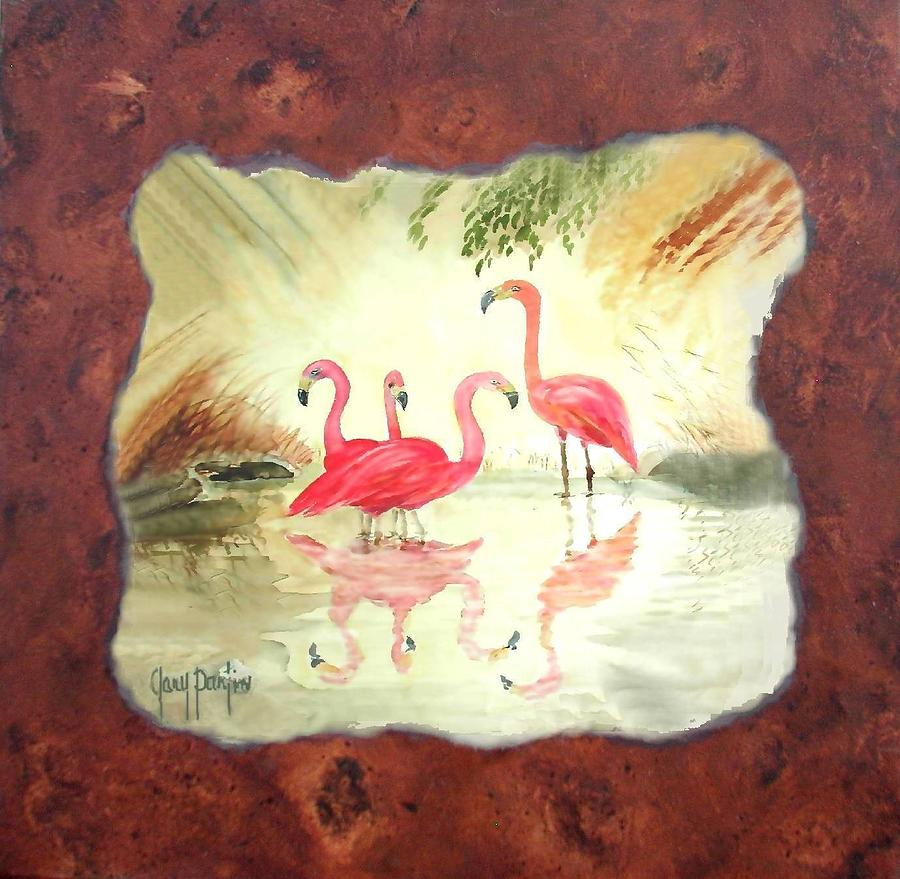 Flamingo on Burl by Gary Partin