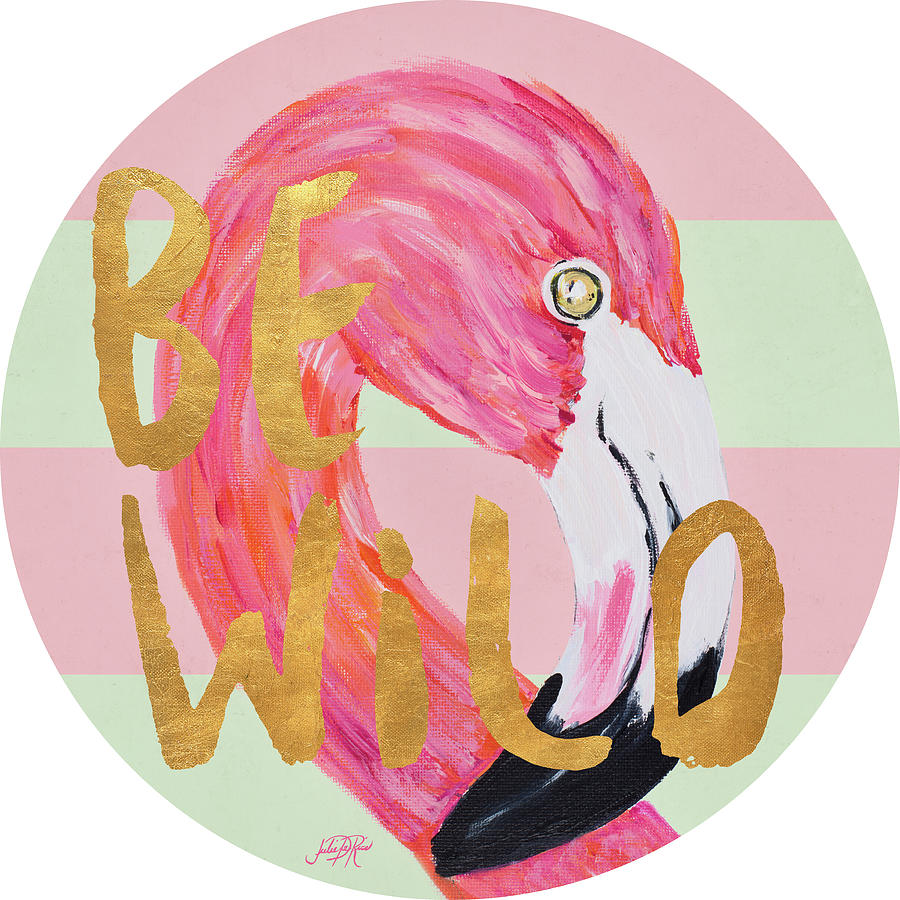 Flamingo Painting - Flamingo On Stripes Round by South Social D