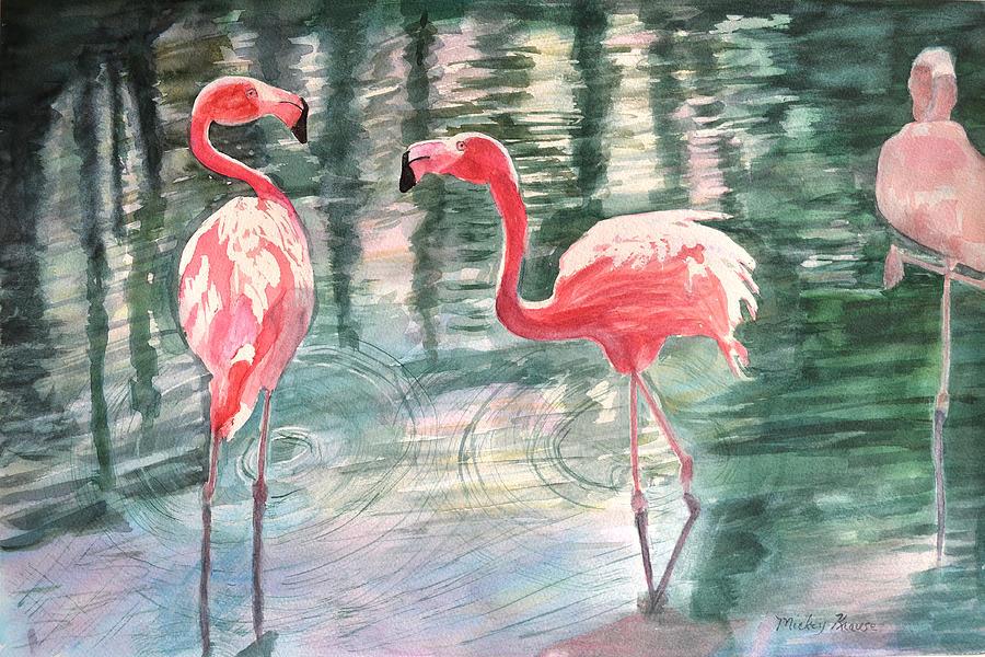 Flamingos Painting - Flamingo Time by Mickey Krause