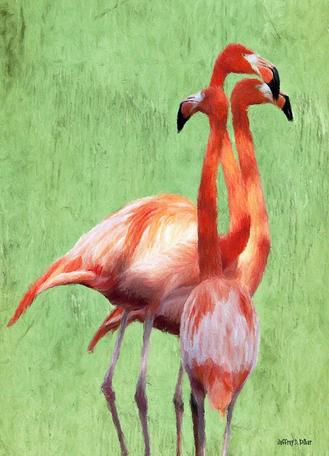 Tall Painting - Flamingo Twist by Jeffrey Kolker