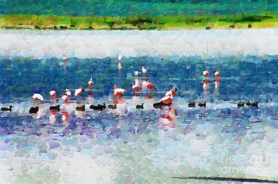 Flamingo Painting - Flamingos And Ducks Painting by George Fedin and Magomed Magomedagaev