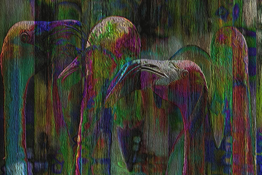 Flamingos Painting - Flamingos by Jack Zulli