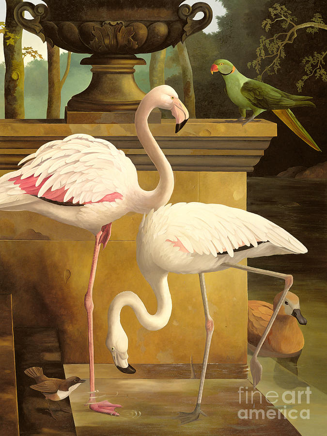 Garden Painting - Flamingos by Lizzie Riches
