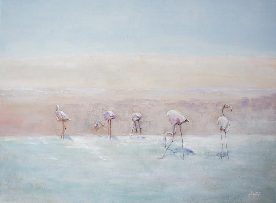 Flamingos Peru Painting by David  Hawkins