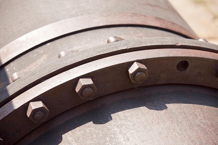 Pipe Photograph - Flange Bolts by Rod Flasch