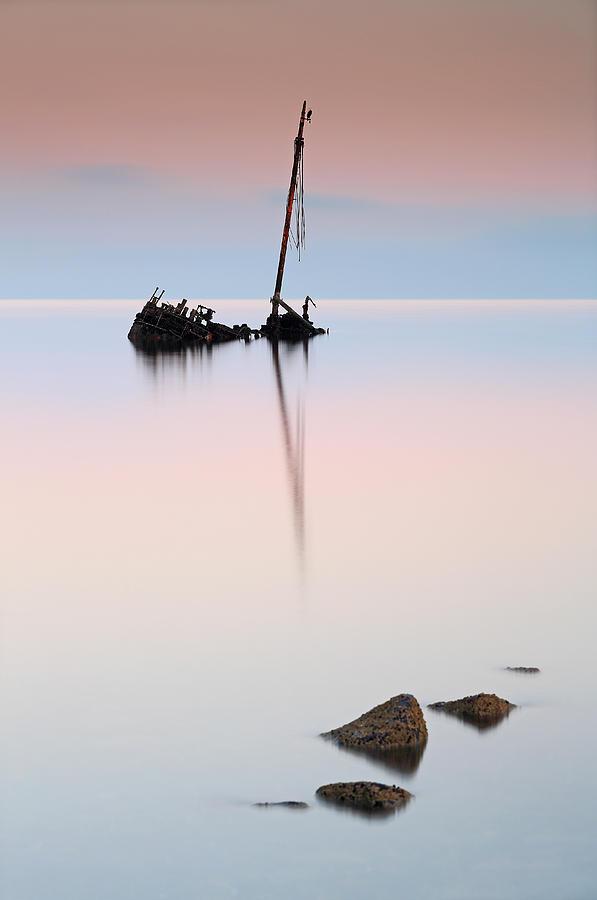 Shipwreck Photograph - Flat calm shipwreck  by Grant Glendinning