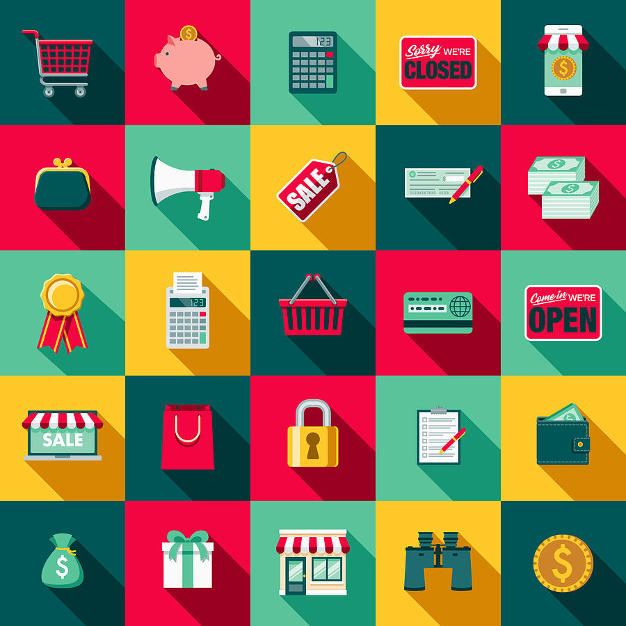 Flat Design E-Commerce Icon Set with Side Shadow Drawing by Bortonia