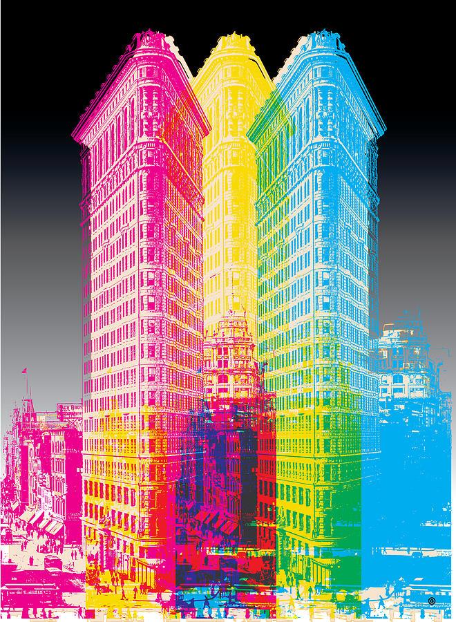 Graphic Digital Art - Flat Iron Pop Art by Gary Grayson