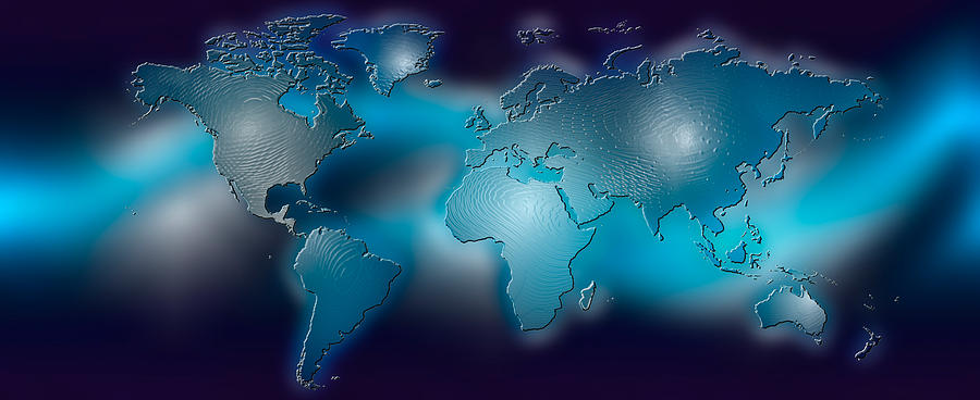 color image photograph flat world map on blue background by panoramic images