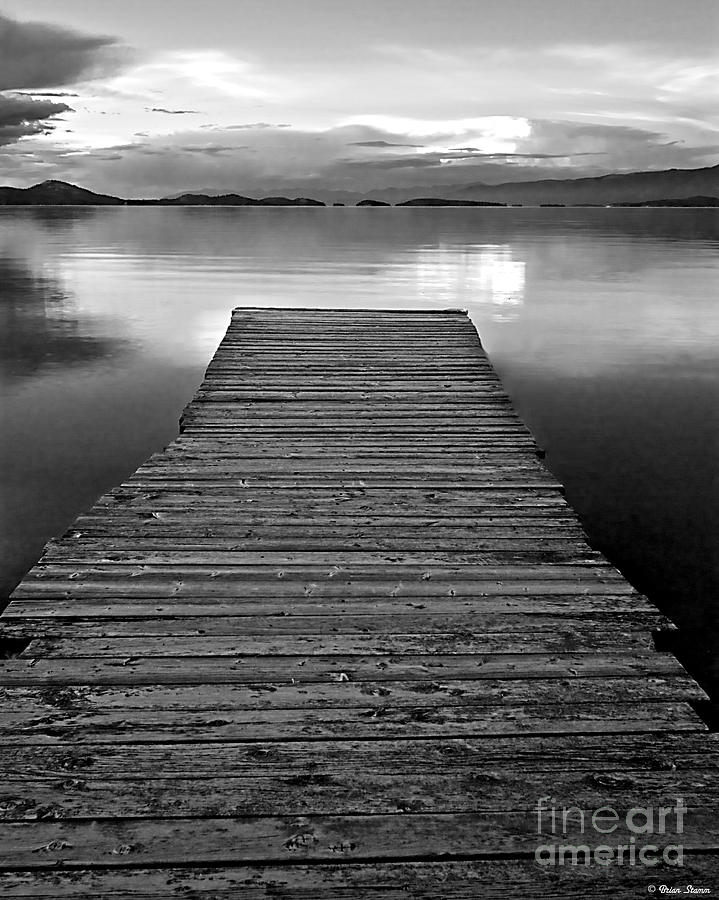 Dock Photograph - Flathead Lake Dock Sunset - Black And White by Brian Stamm