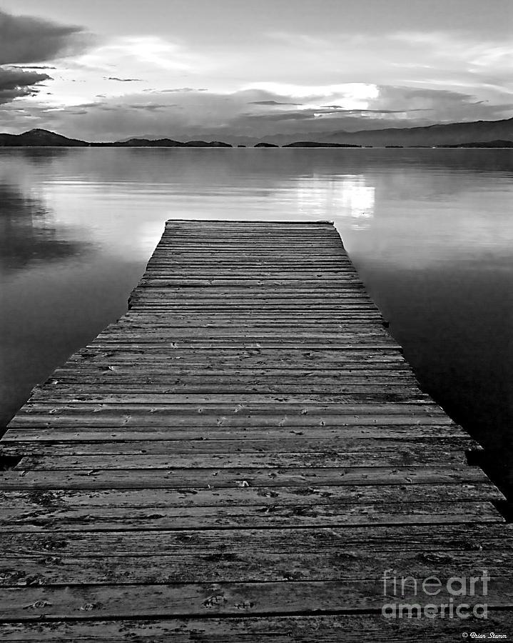 Flathead lake dock sunset black and white photograph by brian stamm dock photograph flathead lake dock sunset black and white by brian stamm freerunsca Gallery