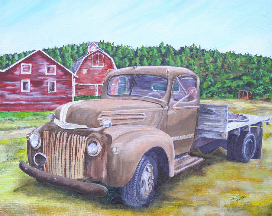 Vintage Pickup Truck Painting - Flathead Monster Truck by Sharon Tabor