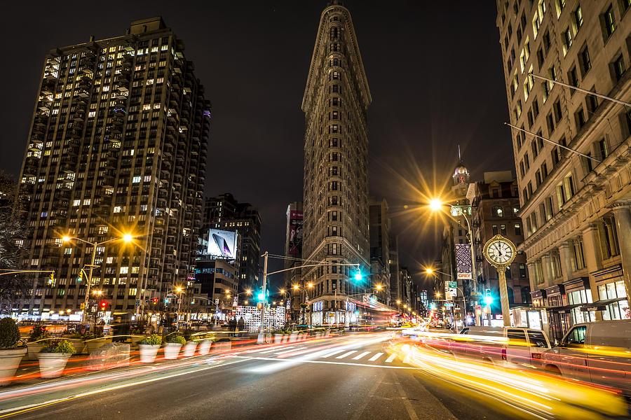 Flatiron Building At Night Photograph
