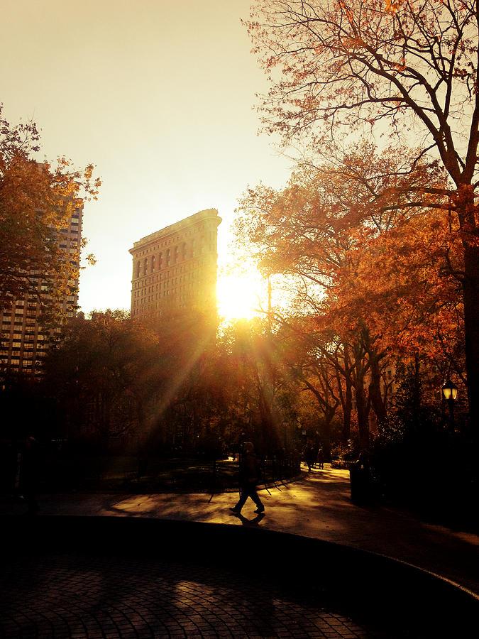 New York City Photograph - Flatiron Building Sunset - Madison Square Park by Vivienne Gucwa