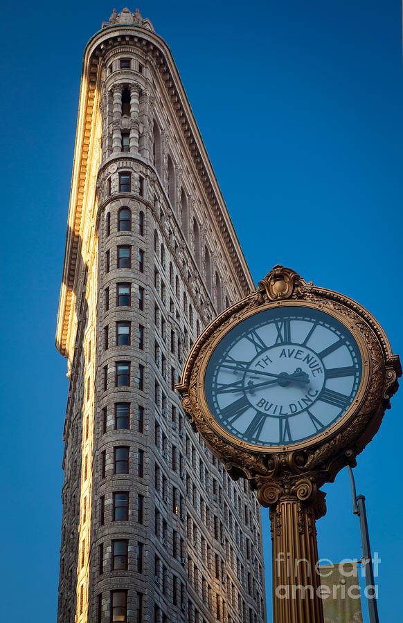 America Photograph - Flatiron Clock by Inge Johnsson