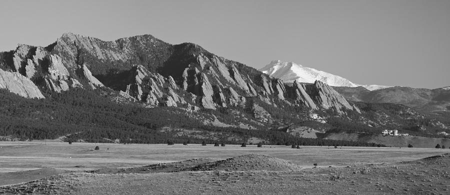 Flatirons And Snow Covered Longs Peak Panorama Bw Photograph