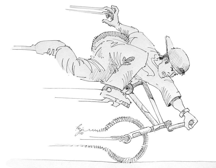 Nose Drawing - Flatland Bmx Nose Wheelie by Mike Jory
