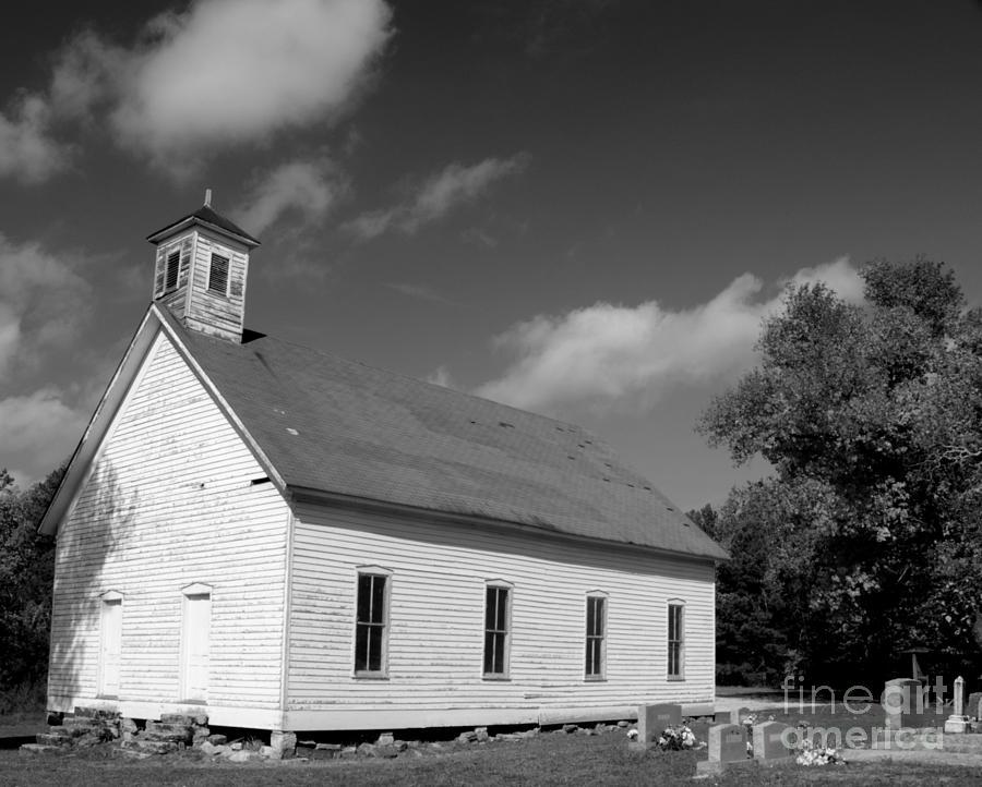 Old Church Photograph - Flatt Rock Church Bw by Kevin Pugh
