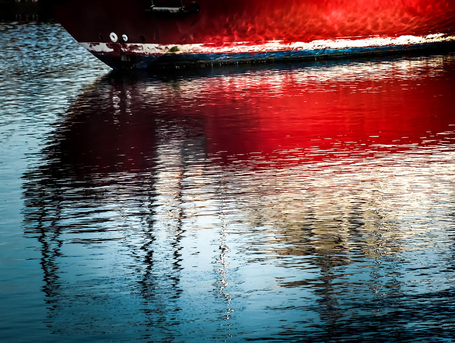 Red Boat Photograph - Red Boat Serenity by Karen Wiles