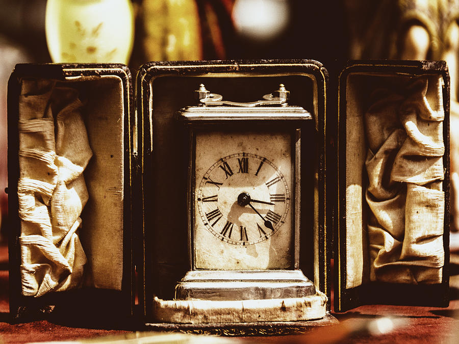Antique Photograph - Flea Market Series - Clock by Marco Oliveira