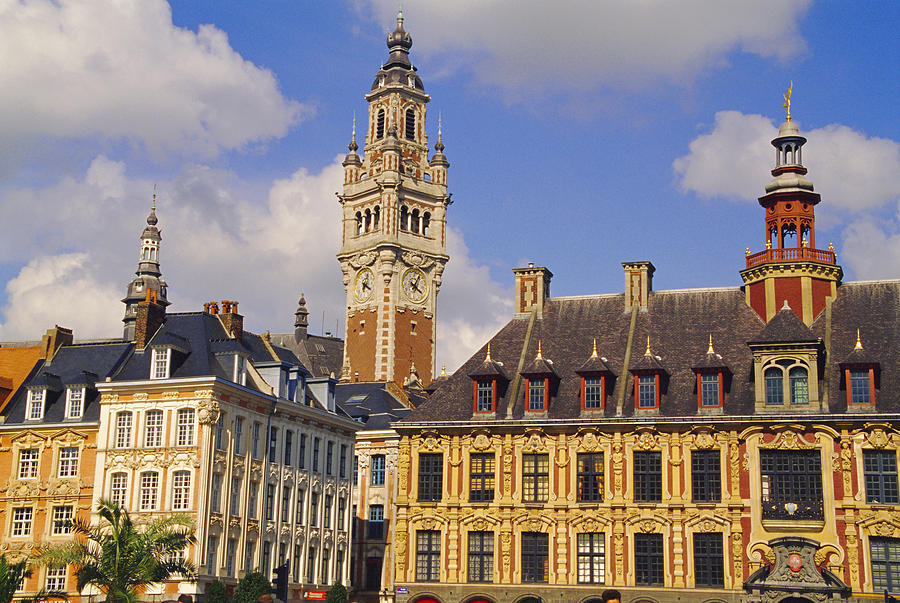 Flemish Houses, Belfry Of The Nouvelle Bourse And Vielle Bourse, Grand Place, Lille, Nord, France, Europe Photograph by David Hughes / robertharding