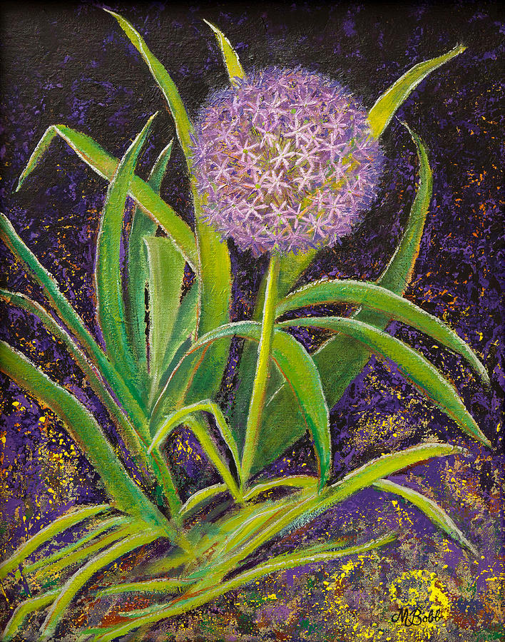 Floral Painting - Fleur d Allium with Iris Leaves Backup by Margaret Bobb