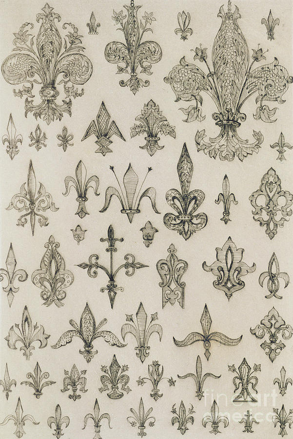 Fleur Drawing - Fleur De Lys Designs From Every Age And From All Around The World by Jean Francois Albanis de Beaumont