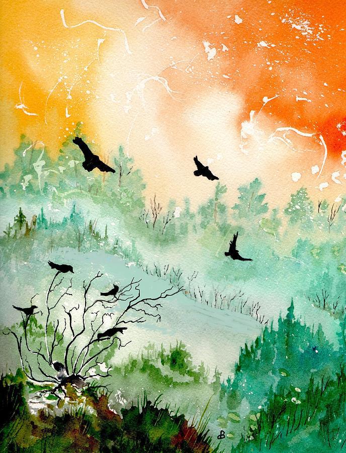Watercolor Painting - Flight by Brenda Owen