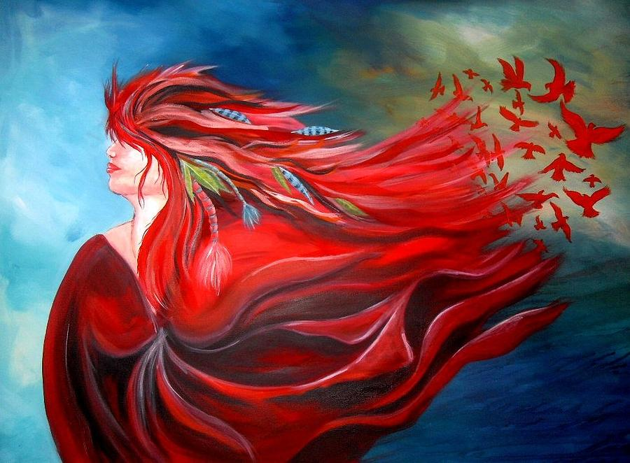 Portrait Painting - Flight Dreaming by Michelle Pope